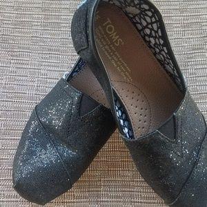 TOMS black glitter flats size 7